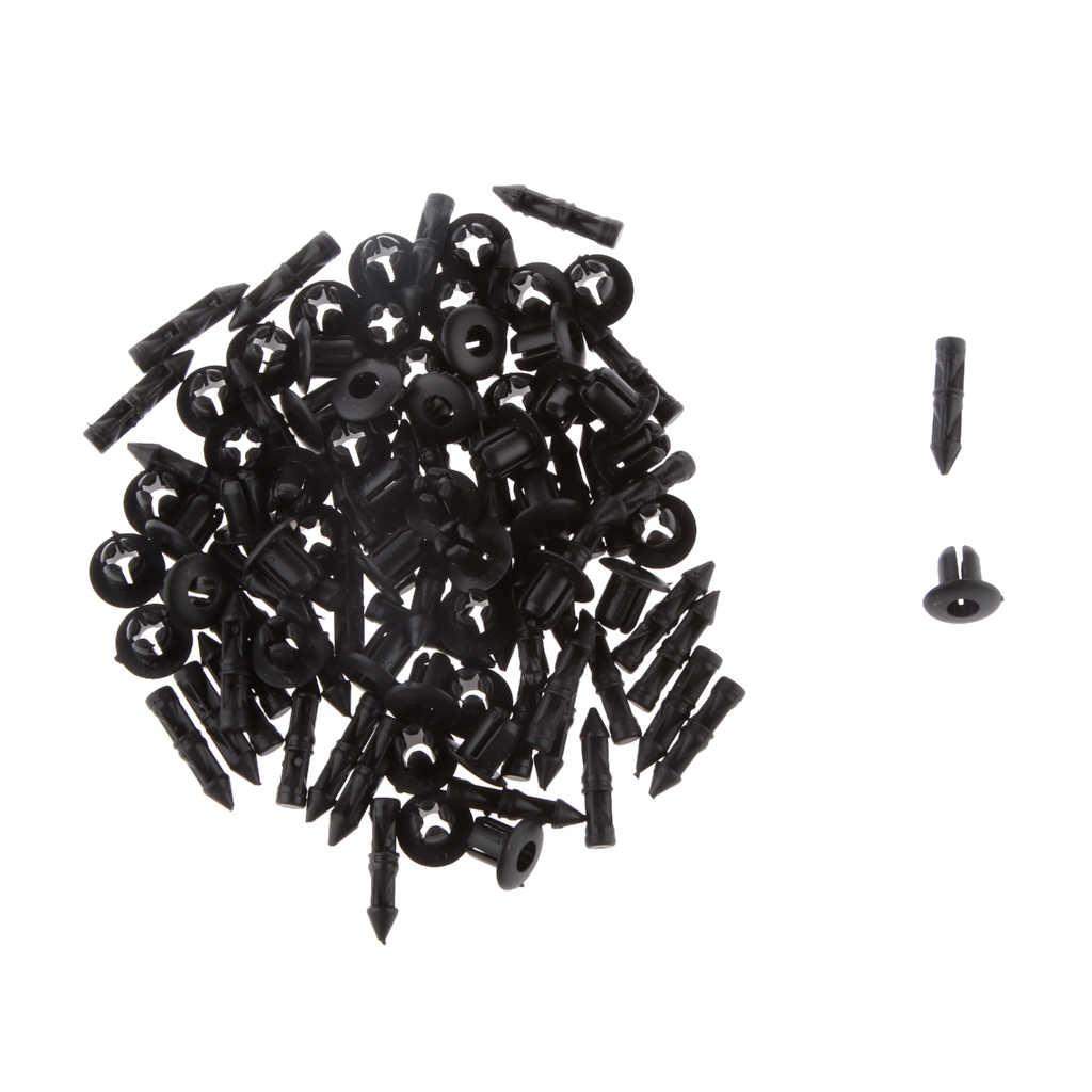 50 Uds. Clip de remache de escudo de parachoques de Nylon Clips de carrocería 6mm (0,24 pulgadas) para Yamaha YZF R1, R6, RoadStar
