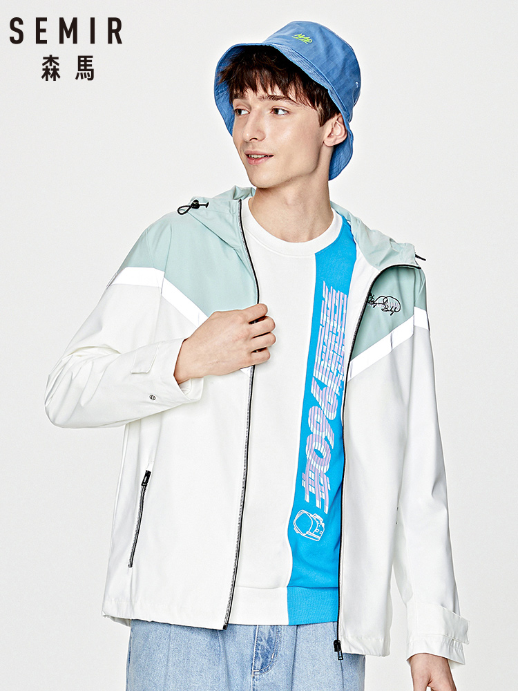 SEMIR Men jacket 2020 spring new contrast color stitching letters embroidered jacket stretch comfortable top