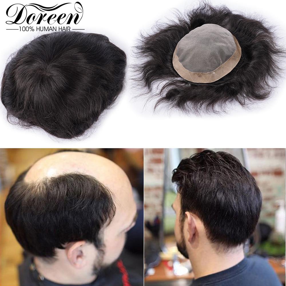 Doreen European Remy Human Hair Fine Mono Men Toupee Poly Coating Hair Men Wigs Hairpieces Black Replacement System Toupees