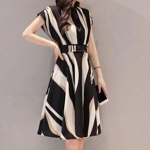 Work Dress Women Plus Size 3XL Office Lady Formal Business платье Belt O-Neck Short Sleeve Knee Length Patchwork Summer Dress