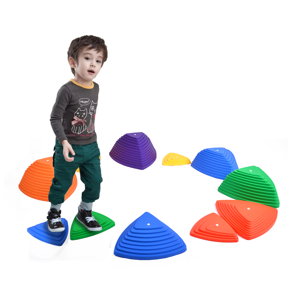 11 Pieces Balance Stepping Stones For Children Rainbow Crossing River Stone Balance Toy Non-Slip Outdoor Indoor Play Set