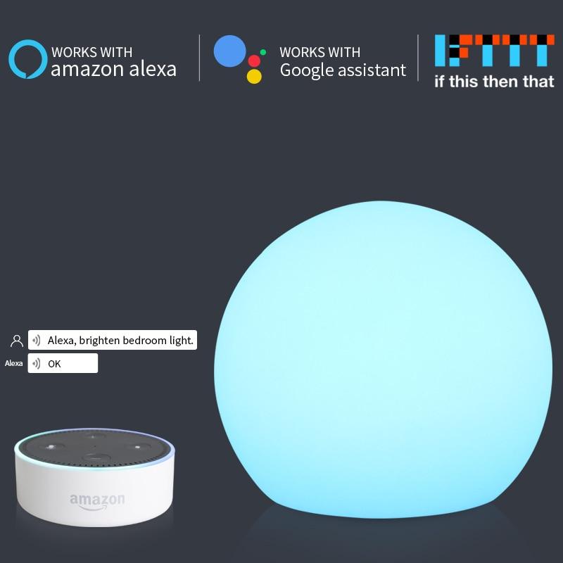 Bola redonda de Carregamento USB Luz CONDUZIDA Da Noite Inteligente 1.5W Alexa IFTTT Echo Google Casa Noturna Controle Aplicativo de Telefone Inteligente iluminação