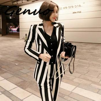 Genuo New Fashion Autumn Women OL Professional Temperament Double-breasted Fashion Warm Striped Blazer Slim Pants Two-piece Set original 2 pieces set dress 2017 new autumn slim fashion temperament black lace dresses women