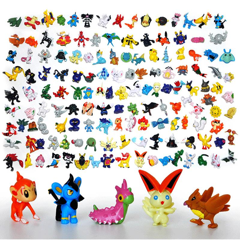 Tomy Anime 144pcs/lot Pokemon Figures 2-3cm Mini Cute Action Figure Kawaii 24pcs/bag Elf PVC Doll Kids Toys Set Gifts Model