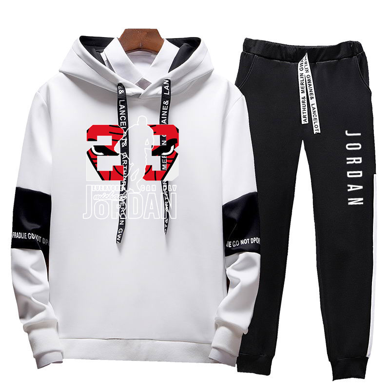 Men Jordan 23 Tracksuits Large Size 4XL Outwear Hoodies Sportwear Sets Male Sweatshirts Cardigan Men Set Clothing+Sweatpants 4