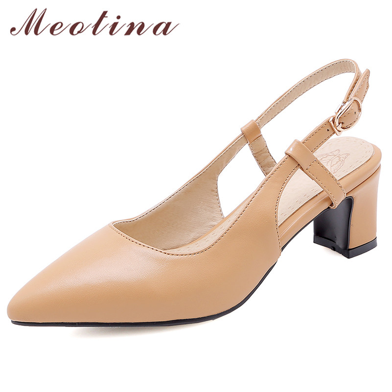 Meotina High Heels Women Slingbacks Shoes Buckle Square High Heel Party Shoes Fashion Pointed Toe Shoes Lady Pink Plus Size 3-12