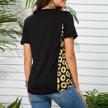 Vicabo Plus Size Black Tshirts Womens Tops Summer Fashion Pocket Leopard Sunflower Print T-shirt Female Patchwork V Neck Tops 2