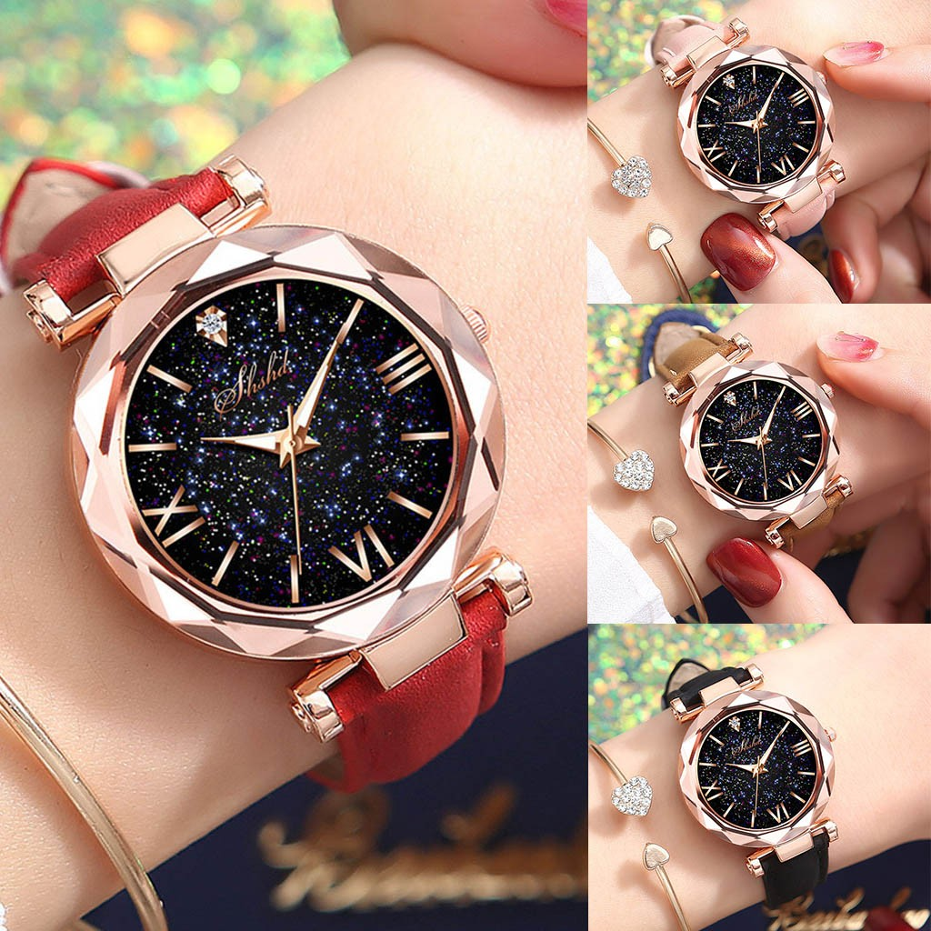 Women's Bracelet Watches Stars Luminous Little Point Frosted Belt Watch Dotted With Roman Scale Watch Relogio Feminino