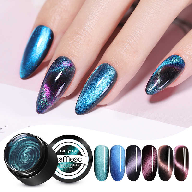 Lemooc Magnetik 5D Cat Eye Uv Gel Nail Polish Magnet Laser Nail Varnish Bintang Jade Efek Rendam Off Uv Gel nail Art Lacqure
