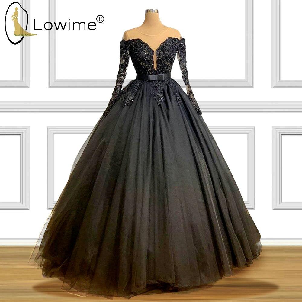 Dubai Black O Neck Long Sleeve Evening Dresses 2020 A Line Applique Beads Floor Length Formal Women Dress Vestido De Soiree
