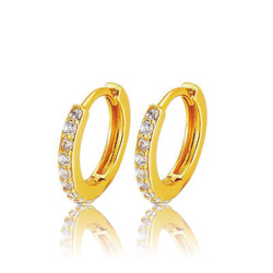 MxGxFam Yellow Gold Color 24 k Zircon Hoop Earrings For Women Fashion Jewelry Good Quality