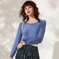 Frauen mode pullover kaschmir pullover rundhals schlank gestreiften casual tops langen ärmeln weiche warme weibliche wolle pullover