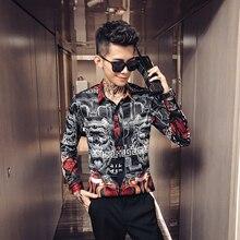 Новая мода горячая Распродажа мужская повседневная Высококачественная приталенная верхняя одежда с принтом, корейский стиль, легкая в уходе рубашка размера плюс M-4xL