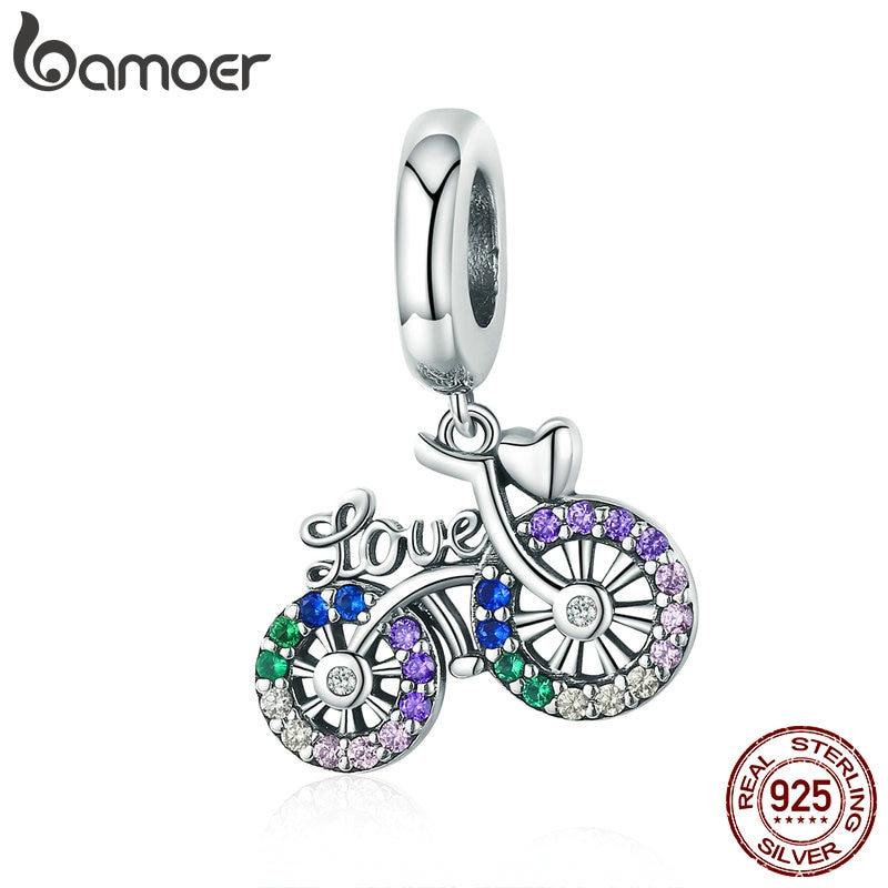 BAMOER 925 argent Sterling cristal vélo forme de vélo pendentif breloques ajustement Original Bracelets et colliers bijoux à bricoler soi-même cadeau SCC1082