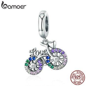 BAMOER 925 srebro kryształ rower kształt zawieszki Charms fit oryginalne bransoletki i naszyjniki DIY biżuteria prezent SCC1082