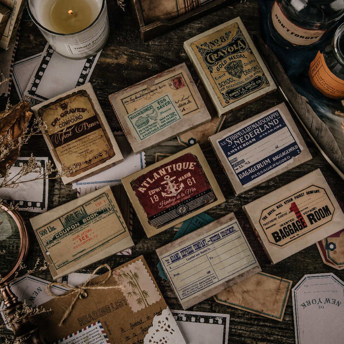 50 pcs/set Vintage Old Thing Label Zakka Writable Paper Stckers Scrapbooking Stationery Diary Sticke