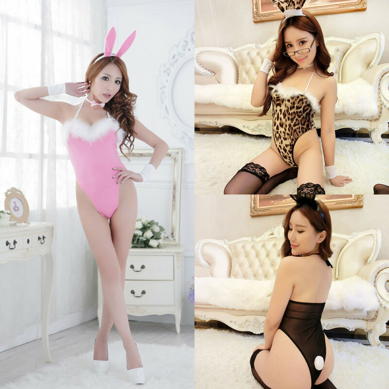 Adult Women Rabbit Bunny Festival Party Cosplay Costume <font><b>Sexy</b></font> Plush Lingerie Backless Strappy Leotard Outfit image