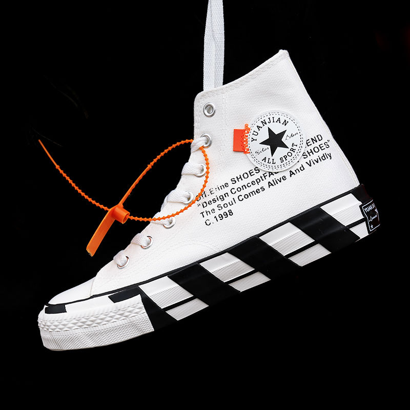 Men's High-top Canvas Shoes Student Ladies Sports Shoes Casual Couple Shoes Breathable Comfortable Black And White Men And Women