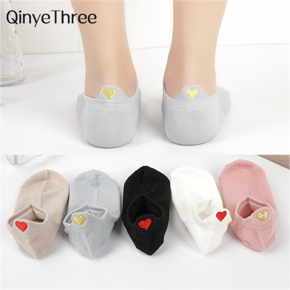 Cute Embroidery Love Heart Socks Fashion Funny Sokken Heel With Glitter Gold Silk Red Heart Ankle Socks Dropship