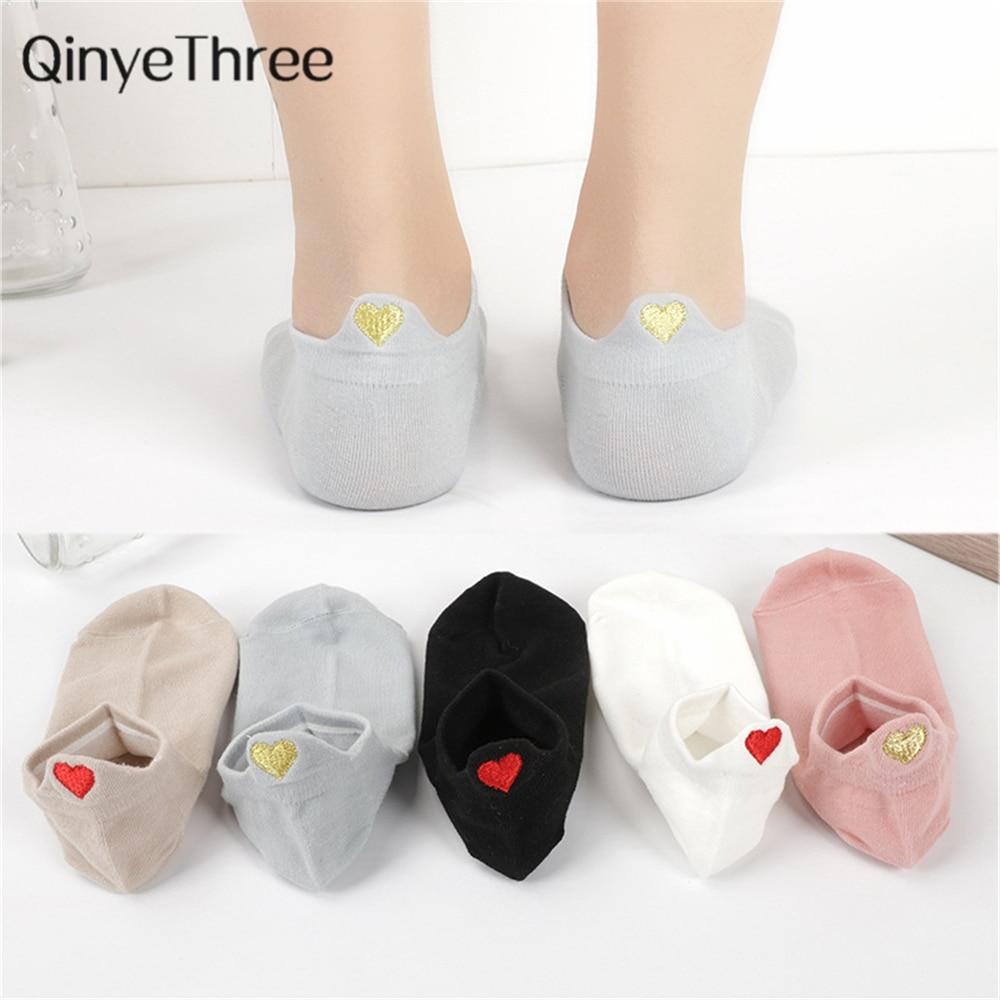 Cute Embroidery Love Heart Socks Fashion Funny Sokken Heel With Glitter Gold Silk Red Heart Ankle Socks Dropship