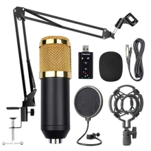 цена на Bm800 Professional Suspension Microphone Kit Studio Live Stream Broadcasting Recording Condenser Microphone Set