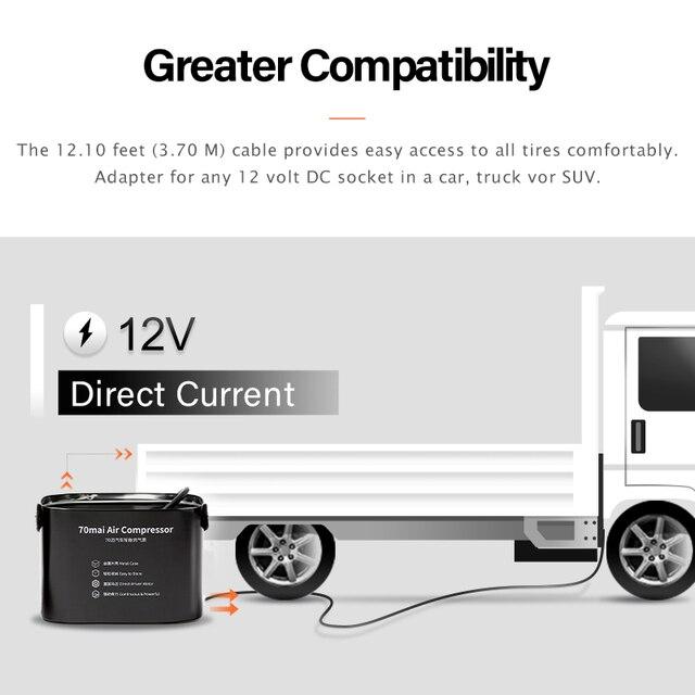 70mai compresseur dair 12V 70 MAI portable électrique voiture pompe à Air pneu gonfleur Pumb Auto pneu Pumb pour voiture moto vélo