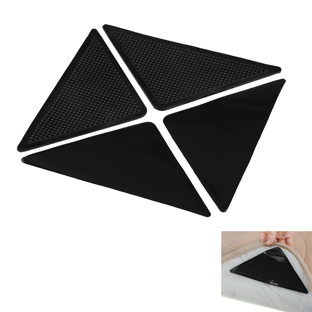 4pcs/lot Non-Slip Rug Carpet Mat Grippers Anti Skid Corners Pad For Bathroom Kitchen Living Room Silicone Mat Grippers