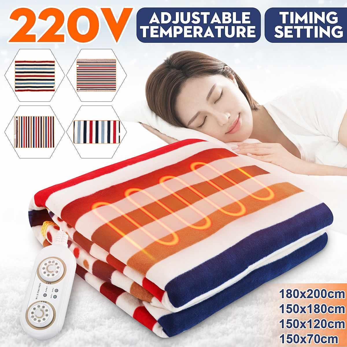 3/2/1 Person 220V Bed Electric Heated Blanket Heating Mat Winter Warmer Thermostat Carpet Single Double Bedroom Carpets Mat