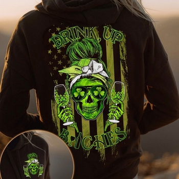 Drink Up Bitches Shirt Wine Skull Lady Messy Bun Headband Girl Green Shamrocks Wine Lovers Irish American Flag Patrick's Day 1