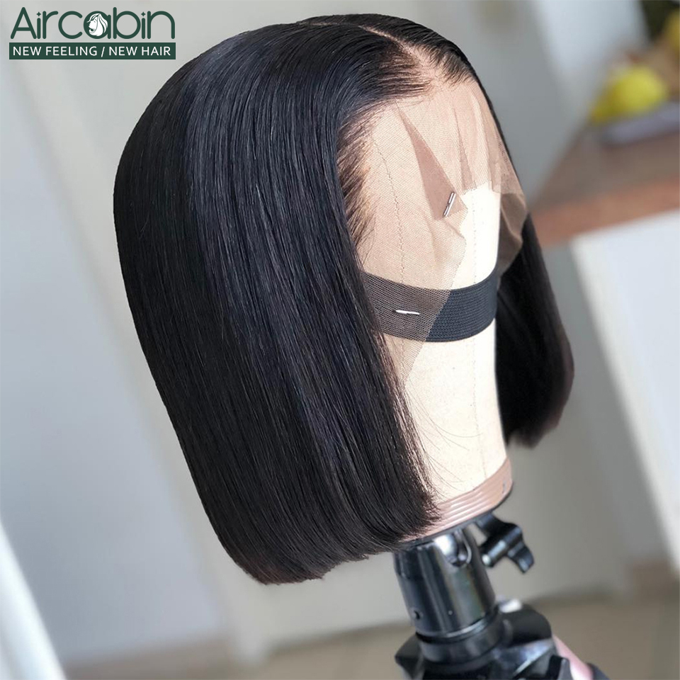 Glueless 13x4 Lace Closure Wig Brazilian Hair Bob Wigs Aircabin8-16inch Human Hair For Black Women Non-Remy Hair Pre-Plucked Wig