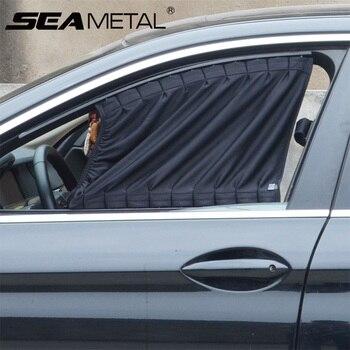 2 uds ventana viseras protección para parasol de coche Universal de poliéster trasera coches/frente verano rayos UV bloqueo sombrilla