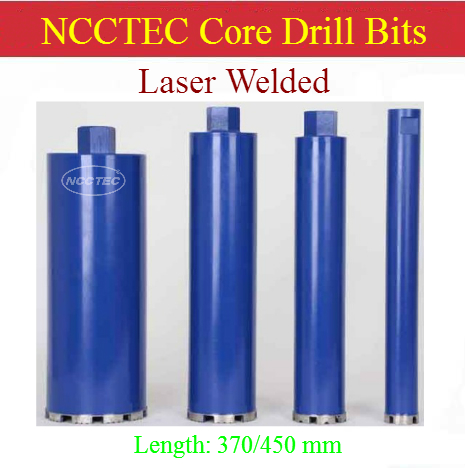 25-180mm * 370/450mm Laser Welded Crown Diamond Core Drill Bits/1''- 7'' * 14.8''/18'' Wet Reinforced Concrete Iron Steel Bars