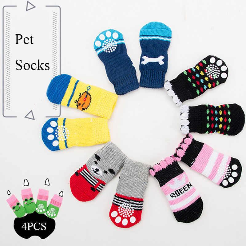 Meias de natal para cachorros 4 de inverno, meias de malha antiderrapantes para cães, gatos, protetor de pata quente botas de cachorro