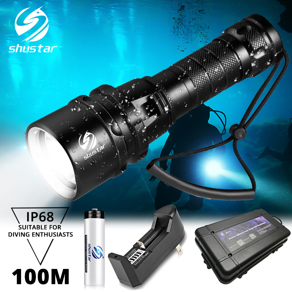Super bright Diving Flashlight IP68 highest waterproof rating Professional diving light Powered by 18650 battery With hand rope