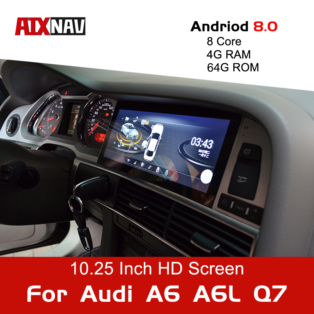 Android 9.0 8 Core 64G Car Multimedia Player Tourist Navigator for Audi A6 A6L Q7 1 Din Radio GPS Navigation Bluetooth DVR DVD image