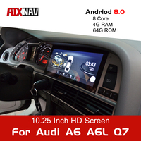 Android 9.0 8 Core 64G Car Multimedia Player Tourist Navigator for Audi A6 A6L Q7 1 Din Radio GPS Navigation Bluetooth DVR DVD