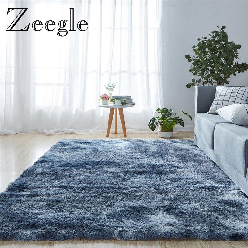 Zeegle Fluffy Carpet Large Size Decoration Living Room Rug Polyester Soft Sofa Area Rug Foot Mat Bedside Carpet Mat Floor Rug