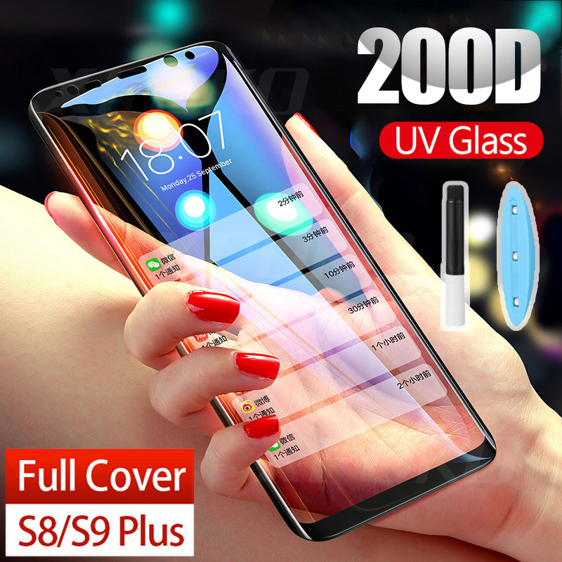 UV Tempered Glass For Samsung Galaxy S8 S9 S10 Plus S7 Edge 200D Full Liquid Glue Screen Protector For Samsung Note 8 9 10 Plus