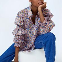 Женская длинная рубашка с цветочным принтом эластичная Повседневная