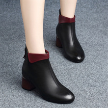 New Women Boots 2019 Autumn High Heels Women Ankle Shoes Size 35-42 Spring Black Boots Fashion Office Leather Boots