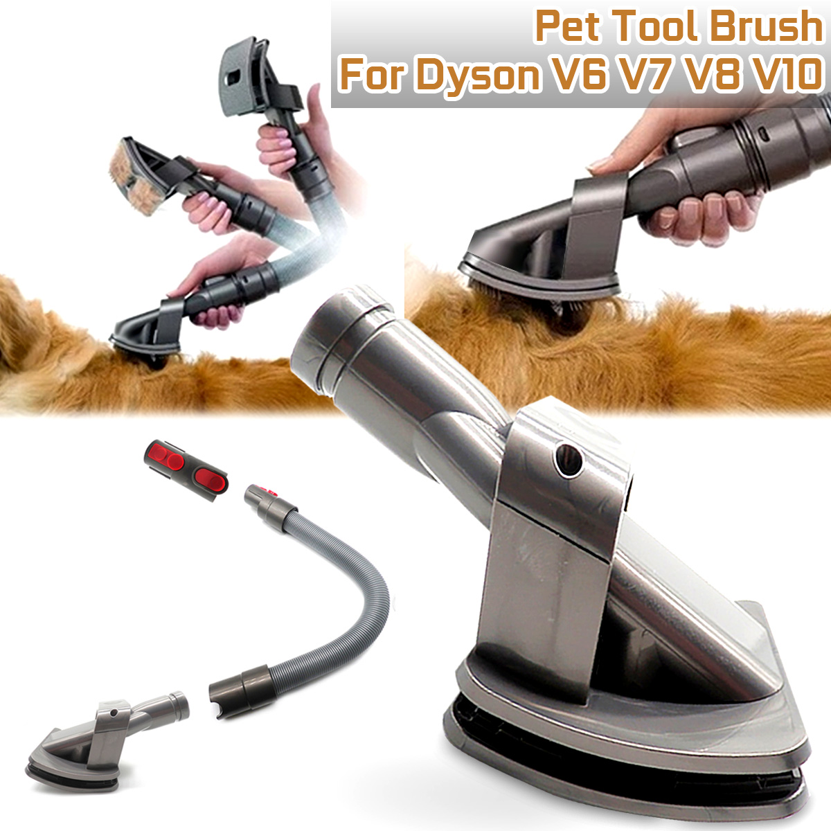 Dog Pet Animal Groom Tool Vacuum Cleaner Brush Connector Plug Adapter For Dyson Vacuum V6 V7 V8 V10 Vacuum Cleaner Accessories