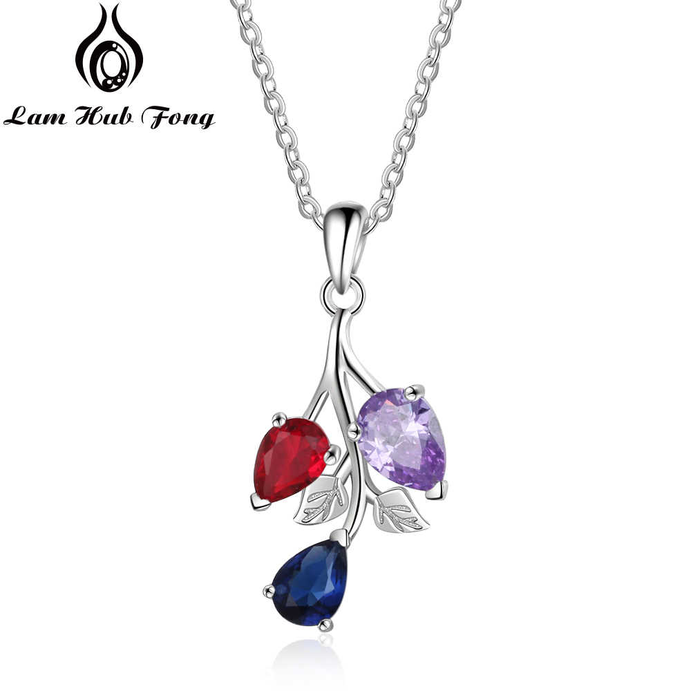 Personalized Birthstone Necklace Custom Leaf Pendant Necklace Water Drop Zircon Necklace Jewelry Gift for Women  (Lam Hub Fong)