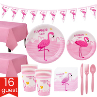 Pink Flamingo Theme Girls Baby Birthday Party Decoration Kids Holiday Party Supplies Home Disposable Paper Edible Tableware Set