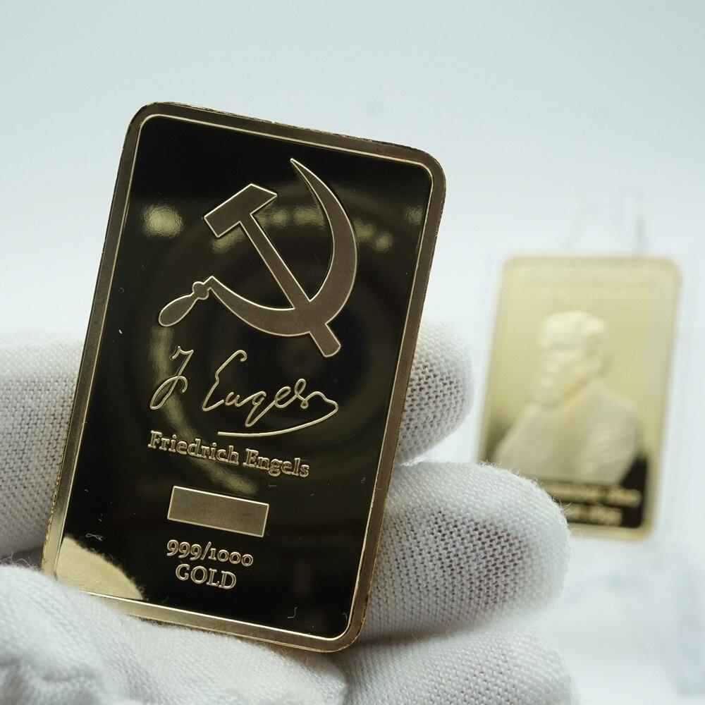 5 pièces/lot 1 oz allemagne célèbre personne Friedrich Engels plaqué or barre métal Souvenir pièce livraison gratuite