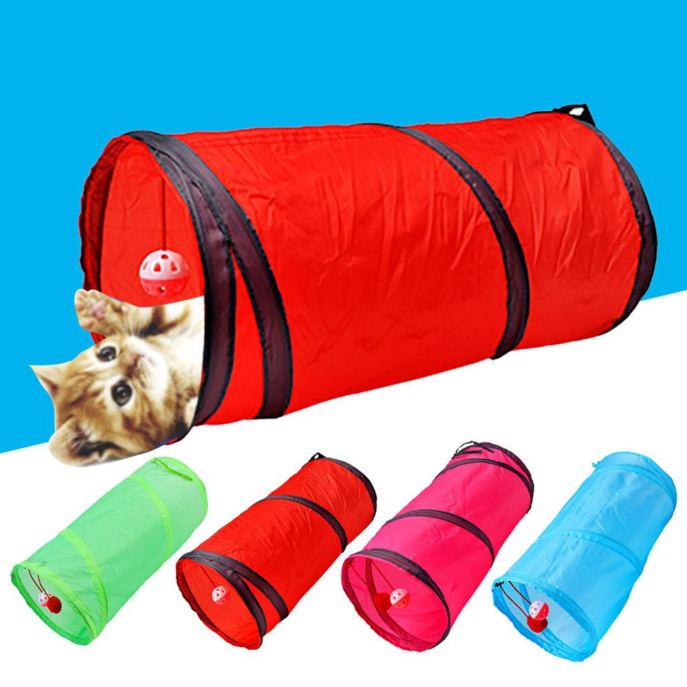 Funny Pet Cat Tunnel 2 Holes Play Tubes Balls Collapsible Crinkle Kitten Toys Puppy Ferrets Rabbit Play Dog Tunnel Tubes 4 Color