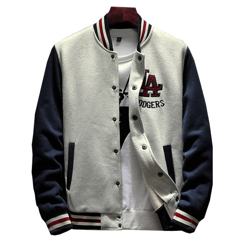 2020 New Arrival Single Casual Baseball Uniform Coat Male Bomber Jacket Men Rib Sleeve Brand Clothing Hot Sale Fleece Spliced 1