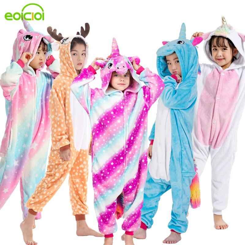 Nouveau kigurumi enfants licorne dinosaure pyjamas combinaison hiver chaud animal vêtements de nuit garçons filles mignon noël maison costume pyjamas