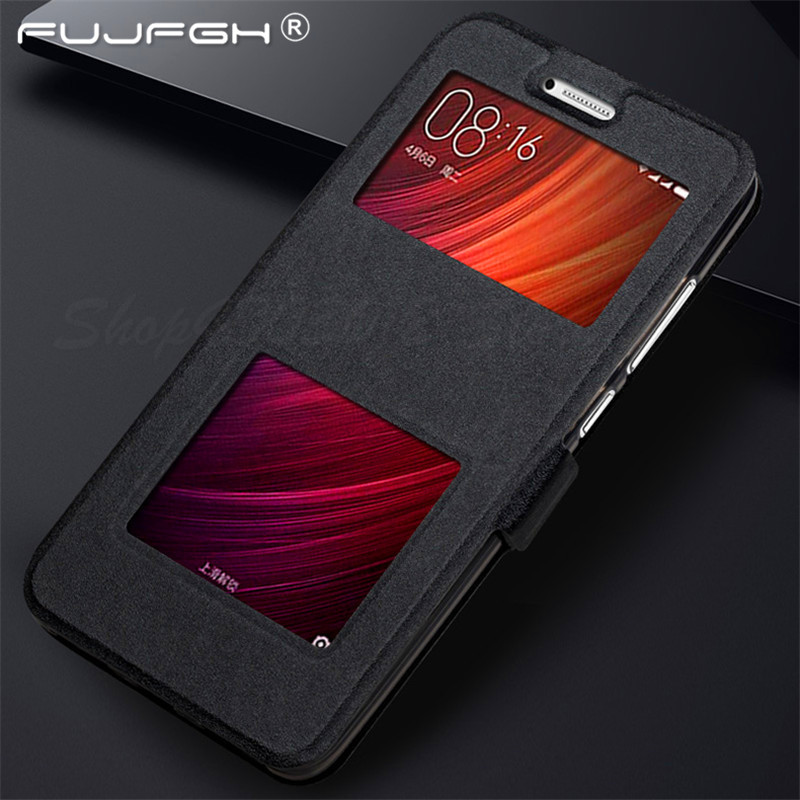 Luxury Front Smart Window Caller Display View Leather Filp Case For <font><b>Xiaomi</b></font> <font><b>Redmi</b></font> 5 Plus 3S 4X <font><b>4A</b></font> 5A 6 7 Pro Note 7 6 5 Pro <font><b>Cover</b></font> image