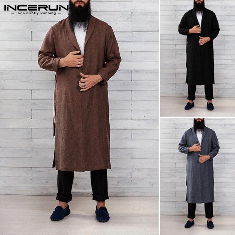 INCERUN Men Solid Lapel Long Sleeve Nightgown Fashion Comfort Cotton Mens Bathrobe Casual Belt Dressing Gown Homewear Pajamas