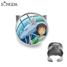 Japan Anime Spirited Away Rings Glass Cabochon Ring Adjustable Resizable Jewelry Handmade Round For Friends Gift for Baby Girls(China)